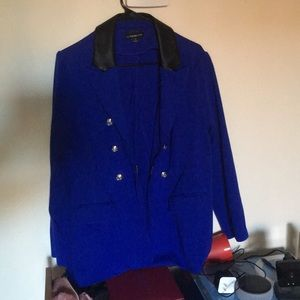 Lane Bryant Blue Blazer with Faux Leather collar
